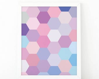 Mermaid Hexagons, wall Art Print, Mermaid wall art, Abstract print, Mermaid Nursery, Mermaid Wall Decor, Instant Download, printable art