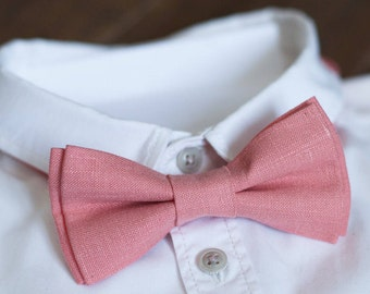 Coral bow tie Wedding Bow ties Gift for him Coral Linen bow tie Groomsmen bow tie Bow tie for wedding Ring bearer outfit