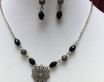 Vintage Black Beaded Necklace and Earring Set