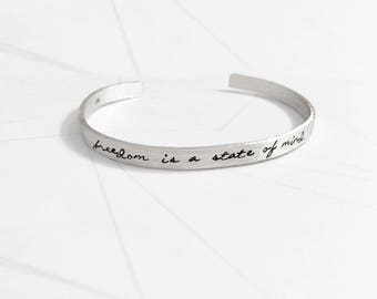 Silver Bracelet 925-height band 0.5 cm-with customizable phrase engraved by hand