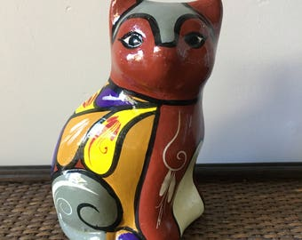 Vintage Hand Painted Terra Cotta Cat Figurine- Mexico