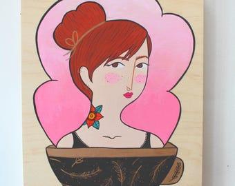 Wood Block Painting - Coffee Head (Rose Tattoo)