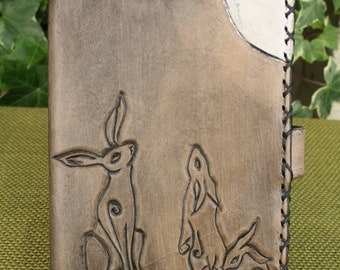 A6 Hand Tooled Leather Black/Grey Moongazing Hare Refillable Notebook Cover/Diary Cover/Journal Cover