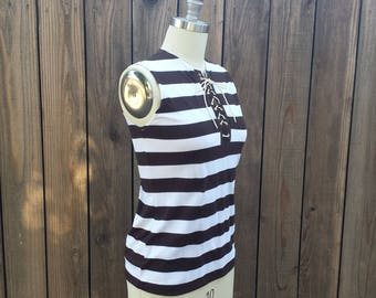 Vintage Sleeveless Brown & White Striped Knit Top With Lace-up Neckline