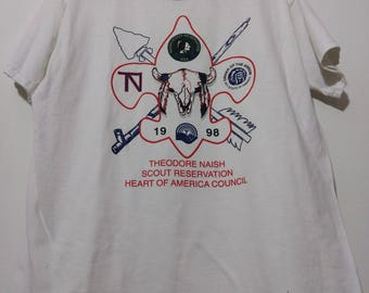 Vintage T-Shirt Large Boy Scouts Theodore Naish Scout Reservation BSA Order of the Arrow 1998 Heart of America Council