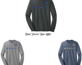 Glitter Monat Long Sleeve Crew, Monat Long Sleeve Shirt, Monat Shirt, Monat