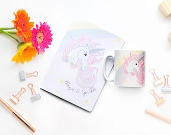 Unicorn Notebook & Mug Set, Notebook Gift Set, Gift for Her, Unicorn Notebook, Lined Notebook, Stationery, Unicorn Mug, Lined Notepad