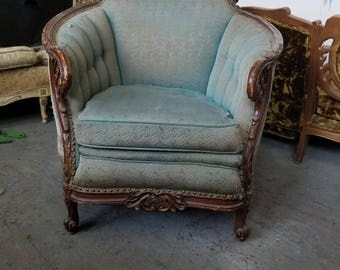Victorian Antique Club Chair Beautifully Carved Vintage Chair   Gorgeous  Wood Details   Ready For Customization