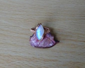 Moonstone copper ring.Wire wrapped ring, unique ring, elven ring