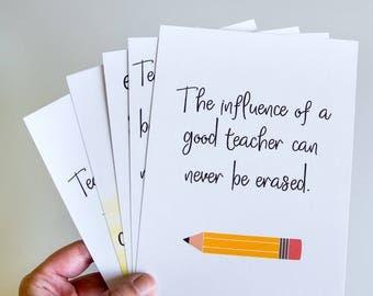 Gifts For Teachers Classrooms, Teacher Art Print Set of 5 Prints, Back to School Teacher Gifts, The Influence of a Good Teacher