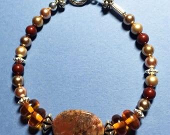 "8"" Swarovski Pearl and Jasper Bracelet"