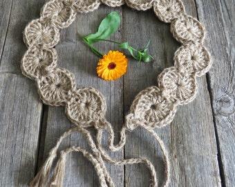 Lace belt boho belt women accessories festival belt hippie belt  rustic belt strap on waist beige belt crochet belt  gift for her knit belt