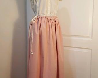 Trek, Pioneer, Prairie, Pilgrim Skirt in Dusty Rose Pink with Authentic Grosgrain Ribbon fits sizes XS to XL