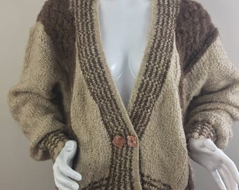 Vintage Brown and Tan Color Blocked Double-Breasted Cardigan Sweater /Size XL