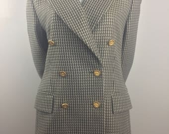 Vintage Escada by Margaretha Ley Olive Hounds Tooth Double Breasted Blazer /EUR Size 40