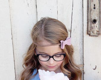 Pink Suede Bow Headband • Suede • Pink Bow • Baby headband • Nylon Headband • Girl headband • baby shower • photo prop