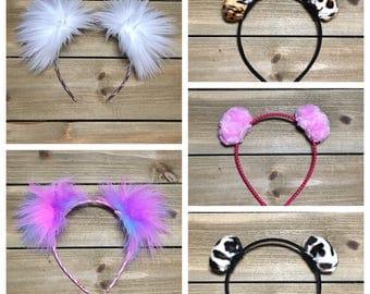 Pom Pom Headband; Furry Headband; Kids Furry Ears; Adult Furry Ears; Ear Headband; White Unicorn Leopard Pink Cheetah Pom Pom Headband