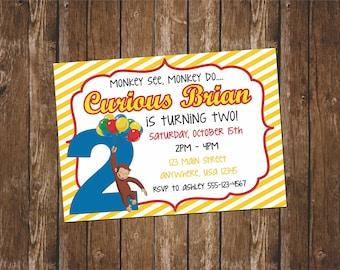 Curious George Birthday Invitation // Curious George Party // Printable Curious George Party Invites