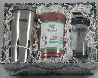 Coffee Connoisseur Gift Basket (Oggi Mug, Whittard Grounds, Bodum French Press)