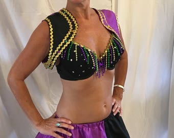 Mardi Gras outfit-vest, skirt, petticoat, bra and hat all in mardi gras colors