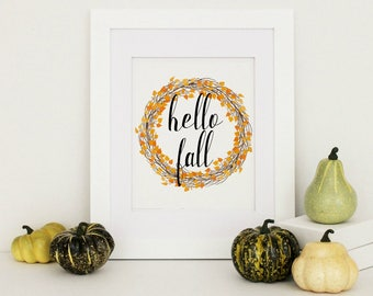 Hello Fall Printable, Hello Fall Print, Rustic Fall Decor, Autumn Wreath Print, Autumn Printable, Hello Fall Sign,Instant Download
