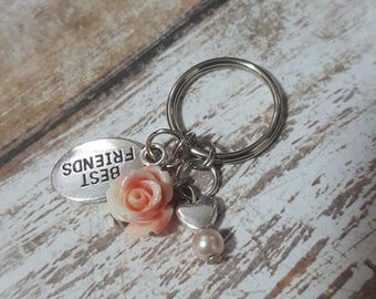 Best friends keychain - friendship keychains- Valentine's day -love- friendship - friendship gift- custom keychain - flower keychain - heart