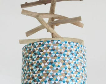 Chandelier Driftwood - geometric triangles - lamp shade cylinder 28 cm - cylindrical pendant - round ceiling light