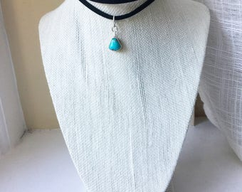 Mountain Path: Natural Carico Lake, Nevada turquoise set in sterling silver on an adjustable black suede choker