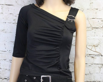 Black One-Sleeved Top - Size Small