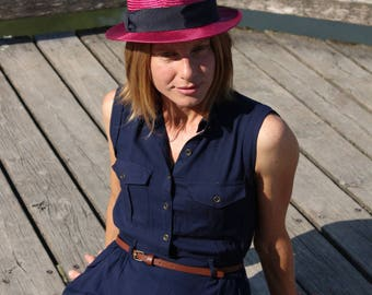 Straw hat Trilby pink-Blue