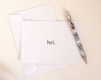 Hei Swedish 'Hello' Handmade Postcard Greetings Card Sweden Hello Kawaii Cute Funny Foreign Language Europe Travellers Card