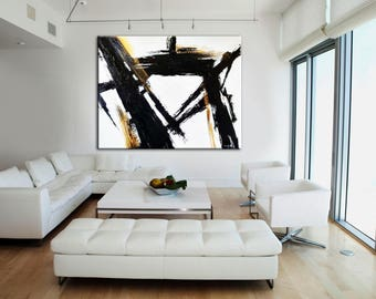 Living Room Art, Black Wall Art, Abstract Painting, Black White Art,  Abstract Part 58