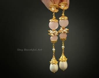 Rose Quartz Earrings Stone Earrings Pearl Earrings Drop Earrings Delicate Earrings Birthstone Earrings Long Earrings Gemstone Earrings