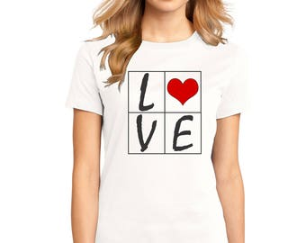 "Ladies Perfect Weight Crew Tee 100% Ring Spun Cotton ""Love with a Heart"" a RealLifeOutfits original design"