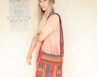 Vintage Stripe Hippie Shoulder Bag
