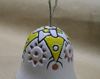 Unique ceramic bell, Ethnic bell, folk style, Bells, folk ornaments, ceramics, naive art, folk ceramics, traditional motifs