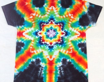 Starburst Tie Dye Adult Large T shirt by Barry Boyland