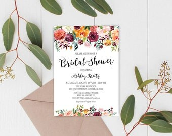 Watercolor Bridal Shower invitation, Bridal shower invitation, Rustic bridal shower invitation, Floral Bridal Shower - US_BI1305