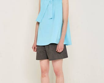Turquoise Bow Blouse