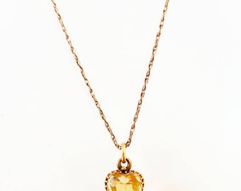 Victorian 9ct Yellow Gold Citrine Heart Necklace