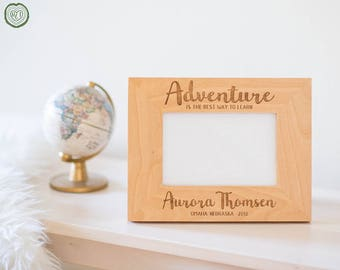 Personalized Picture Frame, Gift for Foreign Exchange Student, Study Abroad, Graduation Gifts, Adventure, Overseas, Exploration, Custom Name