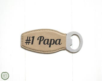 Fathers Day Gift, Bottle Opener Barware Gift, #1 Papa or Dad, Father in law, Grandpa, Faux Leather, Beer Drinker, Personalized, Booze Bottle