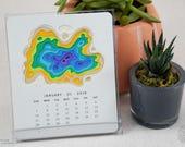 Topography 2018 Calendar, CD Desk Calendar, Map, Travel, Minimalist, Modern, Nature Lover, Desktop Calendar, Gift for Him, Gift for Her