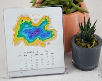 Topography 2018 Calendar, CD Desk Calendar, Map, Travel, Minimalist, Modern, White Elephant Gift, Teacher Gift, Nature Lover