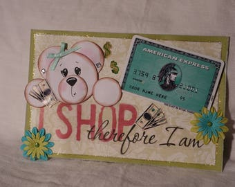 I Shop Bear Scrapbook Premade Page Topper