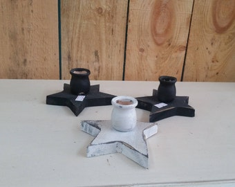 Wooden Star Taper Candle Holders
