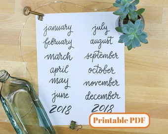 Bullet Journal Printable PDF - Hand Lettered 12 Month Script Headers for Bullet Journal or Planner, Black Ink to Cover Full Year
