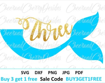 Third Birthday Svg Mermaid birthday SVG Sea svg Three svg file for Silhouette Mermaid tail svg file for Cricut 3rd birthday svg Shirt Girl