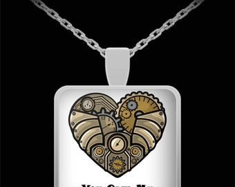 STEAMPUNK HEART Necklace Love Anniversary Birthday Gift Steam Punk Gears Valentine Sweetheart I Love You