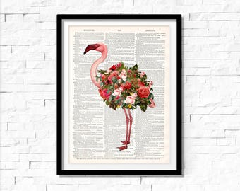 Pink Flamingo Art Print , Flamingo wall art, vintage dictionary page book art print.